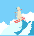cute polar bear happy skiing on the top of a vector image vector image
