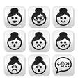 faces grandma buttons set vector image vector image