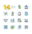 finance - colored modern single line icons set vector image vector image