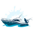 fisherman on boat vector image