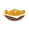 fresh pretzels and croissants in basket colorful vector image vector image
