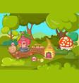 gnome garden concept banner cartoon style vector image vector image