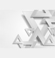 grey abstract triangles tech geometric background vector image