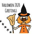 halloween 2020 greetings template witch wearing a vector image vector image