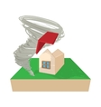 House destroyed by hurricane icon cartoon style vector image vector image