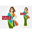 indian woman with shopping bags vector image vector image
