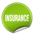 insurance round green sticker isolated on white vector image vector image