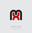 m and x initial logo mx initial monogram logotype vector image