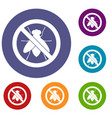 no fly sign icons set vector image vector image