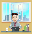 Office men working computer vector image vector image