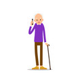 old man an elderly man is standing leaning on his vector image vector image