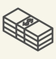 packed dollars line icon bundle of money vector image
