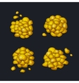 pile gold pieces set on dark background vector image vector image