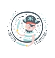 Pirate Fairy Tale Character Girly Sticker In Round vector image vector image