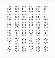 pixel bit font alphabet and numbers vector image vector image