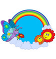 rainbow circle with butterfly and flowers vector image