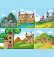 scenes with castle towers in the mountains vector image