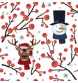 seamless christmas hawthorn pattern with deer and vector image