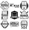set nine mobile badge vector image vector image