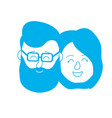 silhouette avatar couple head with hairstyle vector image vector image