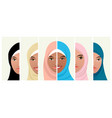 six faces of muslim women vector image vector image