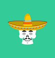 skull in sombrero sleeping emoji mexican skeleton vector image vector image