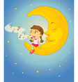 Sleepy Girl Moon vector image vector image