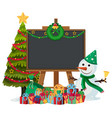 snowman with blackboard frame vector image