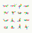 tangram puzzle square set triangle vector image vector image