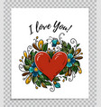 template of valentines day card with heart flower vector image vector image
