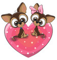 two dogs is sitting on a heart vector image