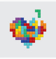valentines day card video game colorful heart vector image vector image