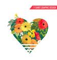 vintage colorful flowers graphic design t-shirt vector image