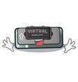 virtual reality button shift in cartoon shape vector image