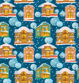 Winter Christmas seamless pattern with houses and vector image vector image