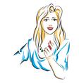 woman puts lipsticks on her lips vector image vector image