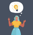 woman thinking got an idea vector image vector image