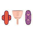 zero waste sanitary pads and menstrual cup vector image
