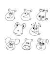 funny pet faces set liner vector image