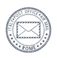 black postal stamp rome italy postmark with vector image