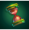a hourglass on green vector image