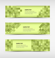Abstract horizontal banners with green squares vector image vector image