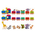 animals and train element vector image