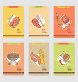 barbecue and grill hand drawn cards brochure menu vector image
