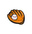 Baseball Glove Ball Retro vector image vector image
