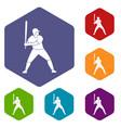 baseball player with bat icons set hexagon vector image vector image