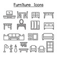 basic furniture icon set in thin line style vector image