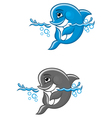 beautiful blue dolphin in water for nature or chil vector image vector image