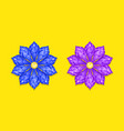 blue and purple diamond flower vector image vector image