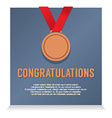 Bronze Medal With Congratulations Card vector image vector image